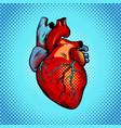 human heart pop art style vector image vector image