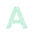 letter a green leaves floral decorative vector image