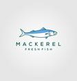 line art fish mackerel logo hipster vintage label vector image