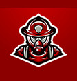 logo mascot firefighter lethal task a dangerous vector image vector image