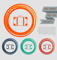 luggage icon on red blue green orange buttons vector image vector image