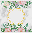 luxury template with pink flowers on white marble vector image vector image
