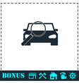Magnifier car icon flat vector image