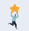 man character running and holding up star vector image vector image