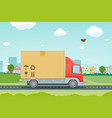 moving houses truck carries a cardboard box vector image
