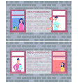 neighbourhood poster copy space text brick wall vector image vector image