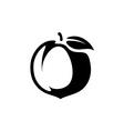 Peach fruit silhouette monochrome black vector image vector image