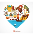 portugal love - heart with icons vector image
