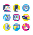search engine optimization set icons vector image vector image