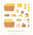 set icons in a flat style on baking theme vector image vector image