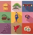 set japan travel colorful flat icons japan vector image
