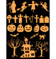 Set of halloween silhouettes vector image vector image