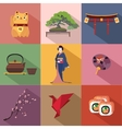 Set of Japan travel colorful flat icons Japan vector image vector image