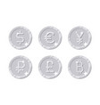 silver coins different currency vector image