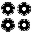 simple black white flower icon symbol logo set vector image vector image