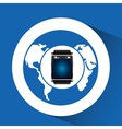 smart watch blue screen global icon media vector image vector image