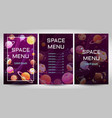 space menu concept food templates set vector image
