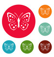 spring butterfly icons circle set vector image vector image