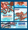 templates for seafood or fish food products vector image vector image