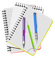 three notebooks and three pens vector image vector image