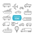 transportation line icons set vector image