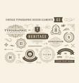 vintage typographic design elements set vector image vector image