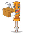 with box screwdriver character cartoon style vector image vector image