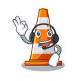with headphone on traffic cone against mascot vector image vector image