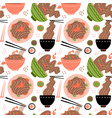 wok with shrimps and soba noodles traditional vector image vector image