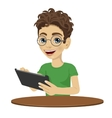 young nerd teenager boy using tablet computer vector image vector image