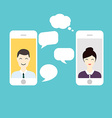 Men and Woman online chat Social Network and vector image