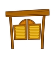 Doors in western saloon icon cartoon style vector image
