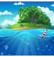 Float in the water at the island background vector image
