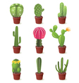 9 cactuses icons set vector image