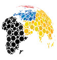abstract globe with colored dotted continents vector image vector image