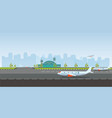 airport building and airplanes on runway vector image