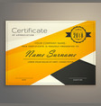 awesome yellow and black certificate design vector image vector image