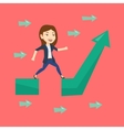Business woman jumping over gap on arrow going up vector image