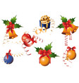 christmas iconsobjects collection detailed vector image vector image
