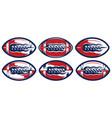 color set stylized american football balls