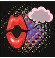 comic lips exclamation speech bubble pop art on vector image vector image