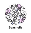 composition with seashells icons vector image vector image