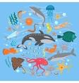 concept set cute sea animals fish vector image