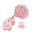 Cute card with lovely elephant elephant with a vector image vector image
