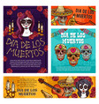 day dead mexican holiday skulls and skeletons vector image vector image
