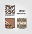 Diagrams of stone masonry vector image