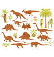 dinosaurs and plants set vector image