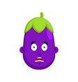 eggplant afraid emotion avatar purple vegetable vector image