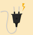 electric plug flat icon isolated on color vector image vector image