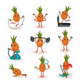 flat set of humanized pineapple in vector image